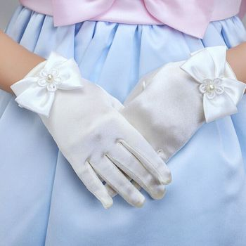 Children's Trendy Princess Gloves Satin Bowknot Gloves Fashion Thin And Soft Brief Paragraph Lady Gloves