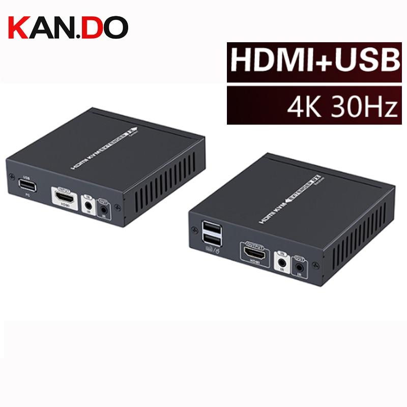 375kvm 4K*2K HDMI Extender+2*USB OVER Cat 5/5E/6/7 Ethernet Cable Extension 70m HDMI HDBaseT Extender Support USB MOUSE Keyboard