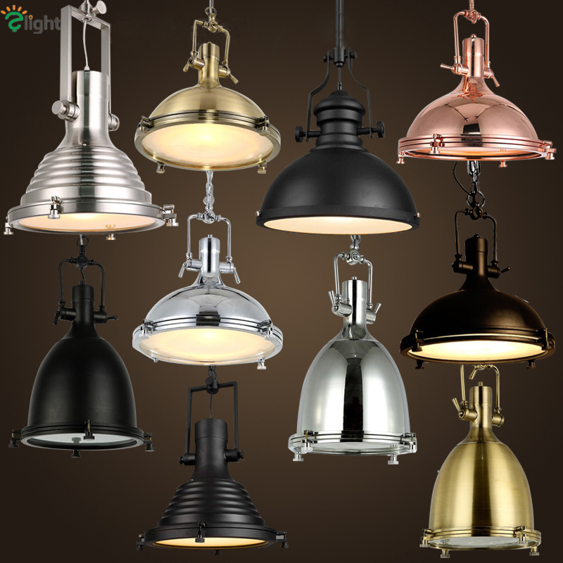 American Retro Heavy Metal Industrial Led Pendant Light Plate Chrome Metal Frosted Glass Shades Loft Bar 1 Head Hanging Light one light frosted glass antique rust hanging lantern