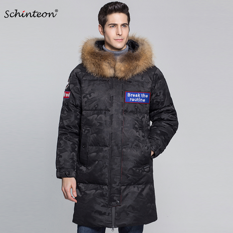 2018 Schinteon Men Top Quality Down Jacket with 100% Real Big Raccoon Fur Collar Hood 90% White Duck Down Camouflage Outwear