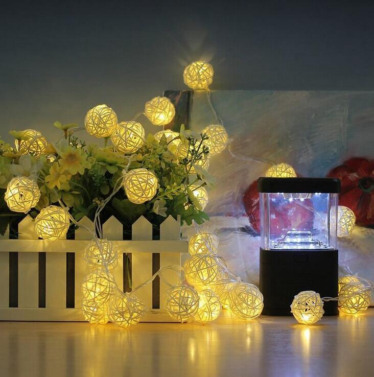 1 м 2 м ротанга мяч светодиодный свет шнура теплый белый свет фея праздник света для вечерние Свадебные украшения Рождественские огни гирлян... ...