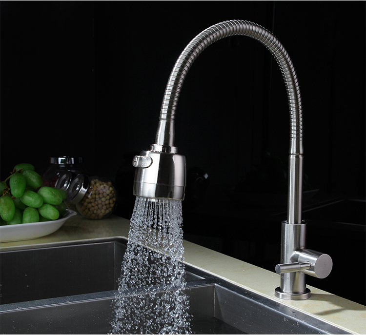 цена Free Shipping 304 stainless steel Kitchen only Cold faucet Kitchen Tap Single Hole Water Tap Kitchen Faucet torneira KF258