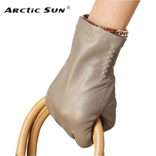 L013NC BLACK women Genuine leather gloves wrist fashion sheepskin lady winter