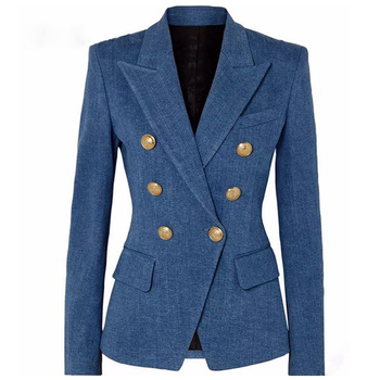S-XXL High quality 2019 fashion new classic double-breasted imitation denim slim self-service casual commuter woman Blazers 2019fashion 1pc woman girl imitation pearl brooch classic charm high quality accessories simple double pearls brooches all match