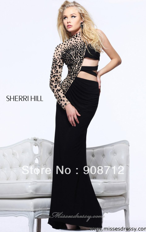 Long one sleeve prom dress