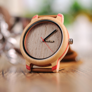 Image 3 - BOBO BIRD montres de luxe en bambou, pour hommes et femmes, bracelet à Quartz avec bracelet en cuir, coffret cadeau en bois