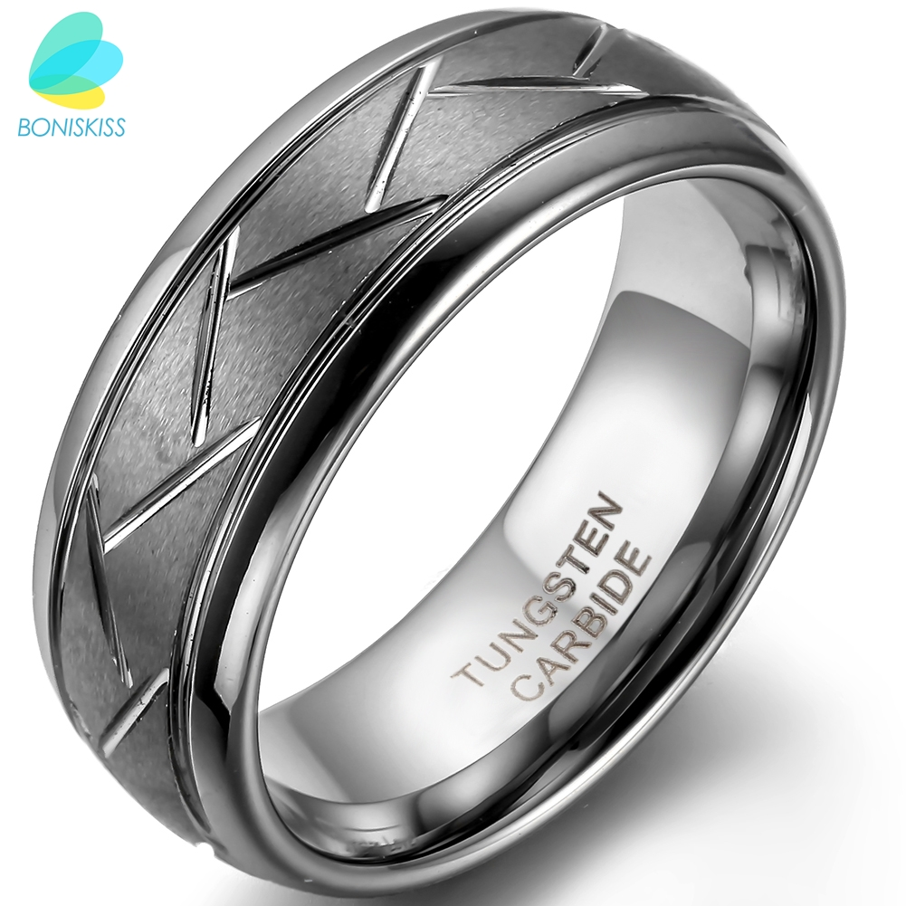 BONISKISS 8MM Herre Grå børstet finish Tungsten Carbide Ring & Diagonale riller Brugerdefineret gravering