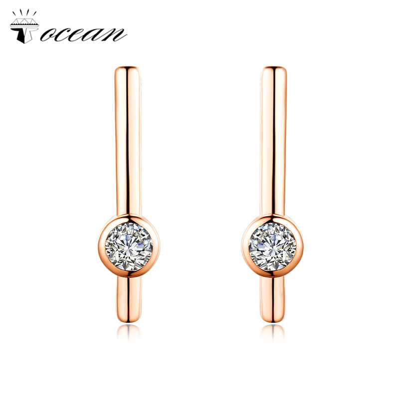 Tocean Rose Gold Color Cubic Round Simple Jewelry Wedding Stud Earring for Women AAA Zircon Engagement Accessories Gift EM118