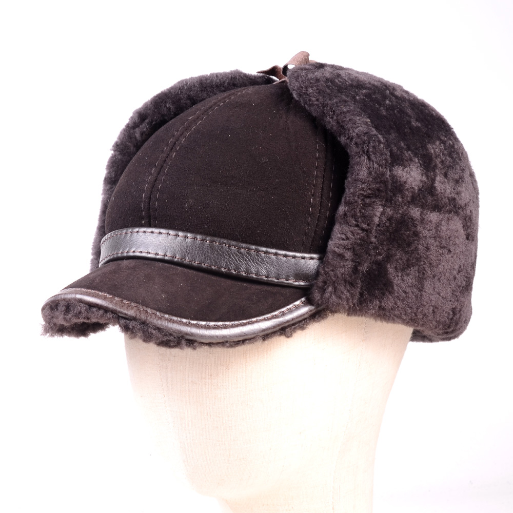 Men 39 s Real Leather Sheepskin Sheep shearing Fur Winter Warm Earmuff Bomber Trapper Russia Ushanka Hunting Hats Caps in Men 39 s Bomber Hats from Apparel Accessories
