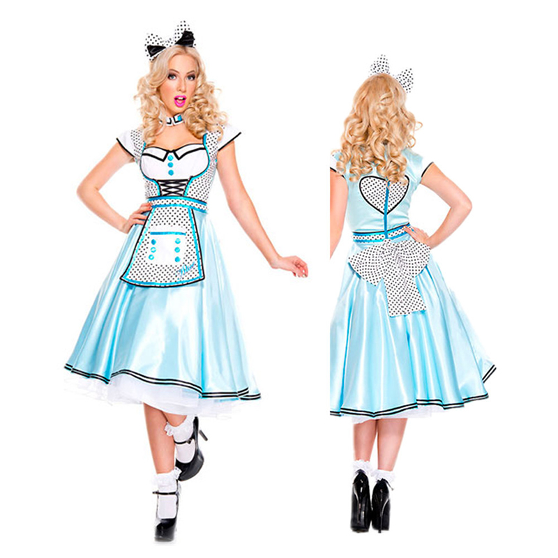 Classic <font><b>Alice</b></font> <font><b>In</b></font> the <font><b>Wonderland</b></font> <font><b>Costume</b></font> Adult <font><b>Sexy</b></font> <font><b>Alice</b></font> Maid <font><b>Costume</b></font> Women Halloween <font><b>Costume</b></font> party Party Fancy Dress image