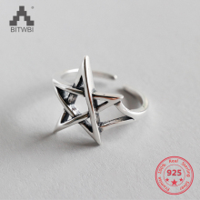 S925 sterling silver Korean retro old Thai silver hollow star opening ring