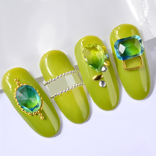 Colorful Droptear Square Oval Designs Nail Art