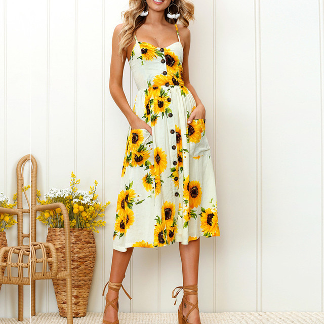 Sexy V Neck Backless Floral Summer Beach Dress Women 2019 White Boho Striped Button Sunflower Daisy Pineapple Party Midi Dresses