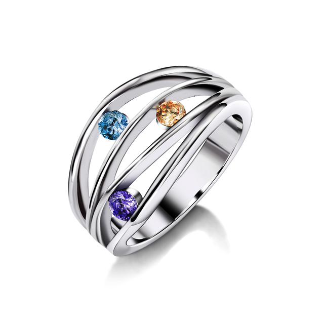 Wedding Band Rings For Women Gift Jewelry Anel Feminine Whole Silver Color Multicolor Cubic
