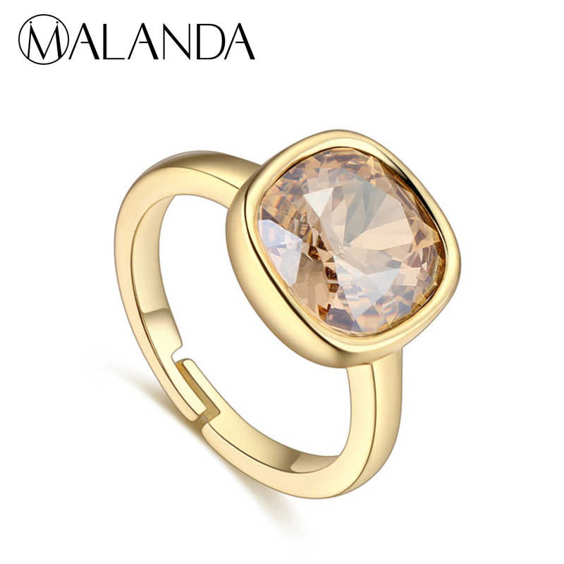 533272f95 MALANDA Design Round Crystal From Swarovski Ring New Fashion Gold Color  Rings For Women Luxury Wedding
