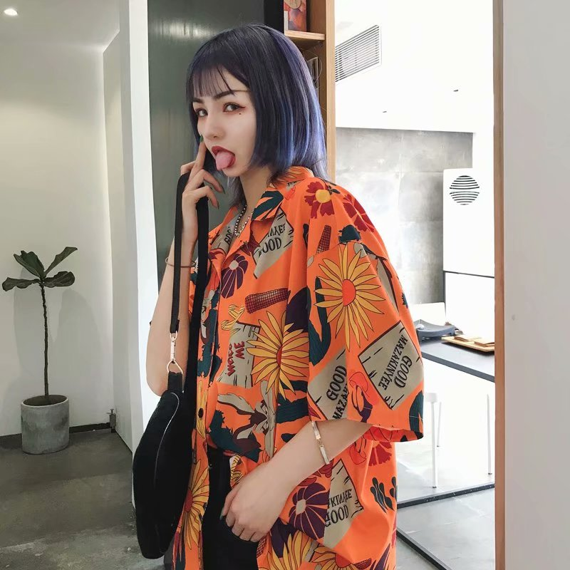 Summer Korean Retro Flower Shirt Loose Casual Short-sleeved Shirt Men And Women With The Same Personality Shirt Fashion