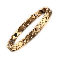 Top Quality 18k Gold Plated Healthy Magnetic Bracelets Bangles For Men Stainless Steel Bangle Bracelet Body