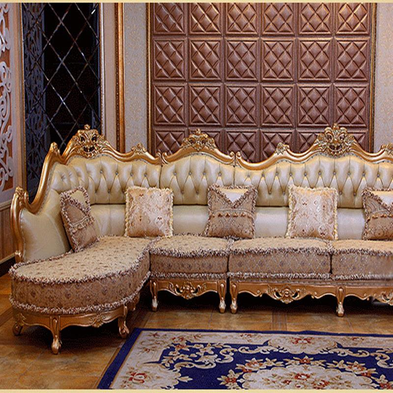 Luxury Leather Sofa Living Room Wood Carving And Gold Corner Sofa Living  Room Furniture In Living Room Sofas From Furniture On Aliexpress.com |  Alibaba ...