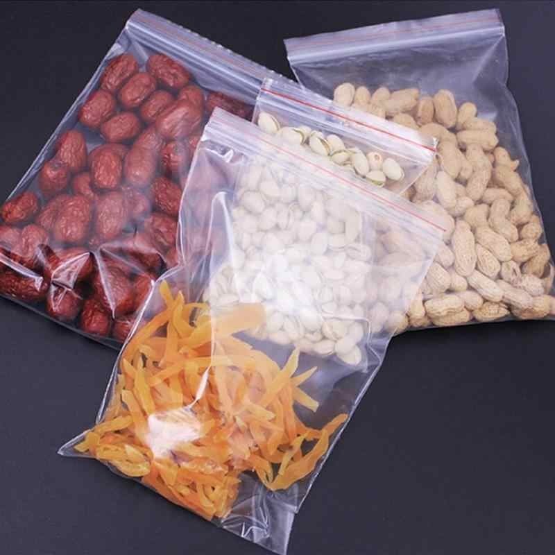100pcs/lot Eco Friendly Small Zip Lock Vegetable Bags Reusable Produce Bags Food Storage Bag Kitchen Package Bag