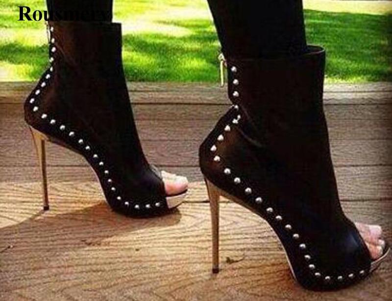 Hot Sale Women Fashion Open Toe Spike Black High Heel Ankle Boots Stiletto Heel Rivet Platform Gladiator Boots Dress Shoes