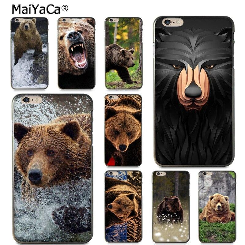Maiyaca России черный медведь печати рисунка защиты телефона чехол для Apple IPhone 8 7 6 6 S Plus x 5 5S SE 5C чехол