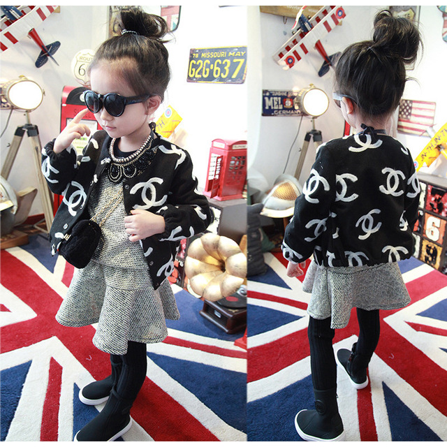print single-breasted girl outerwear autumn winter kids clothes girls jackts and coats black children clothing baby cardigan