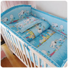Promotion! 9pcs whole set Cute cartoon bedding sets teens kids bumper sheet pillow duvet 100%cotton, 120*60/120*70cm