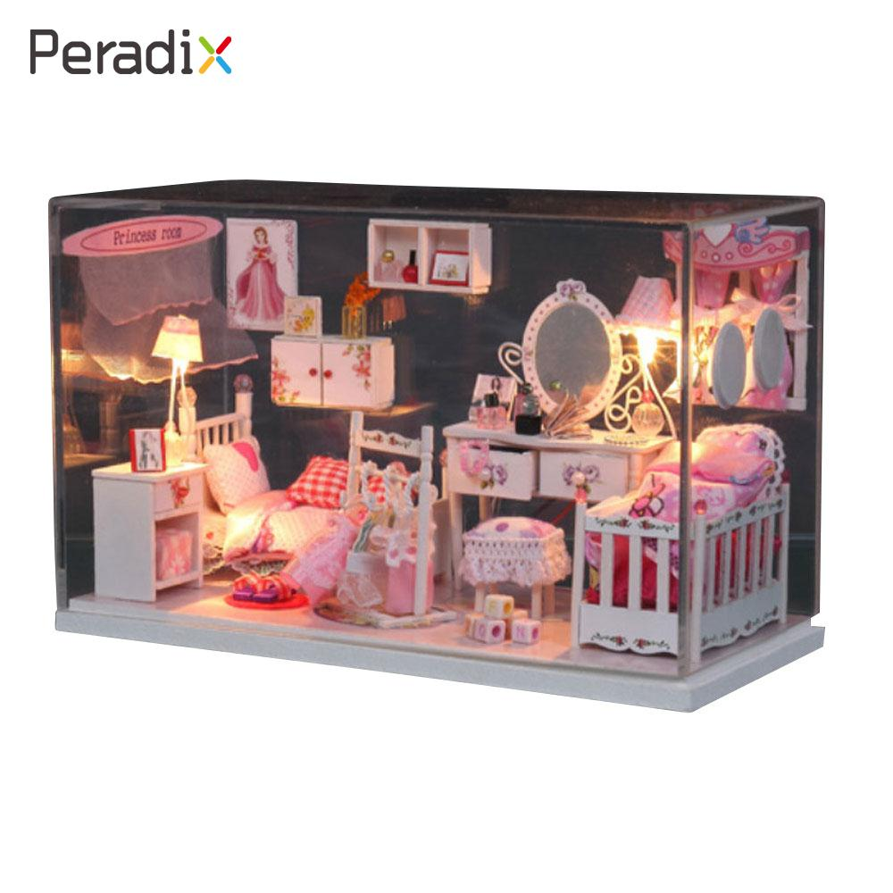 Model Building Kits Doll DIY Wood Dollhouse Wood LED Light Doll House Lovely Miniature Furniture