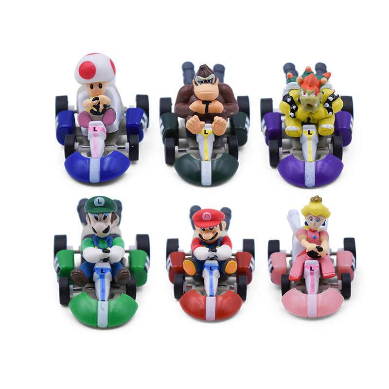 6 pçs/lote Super Mario Kart Puxar Para Trás Do Carro Carros de Bowser Koopa Luigi Donkey Kong Princesa Peach Toad Mushroom Figura Brinquedos Para As Crianças