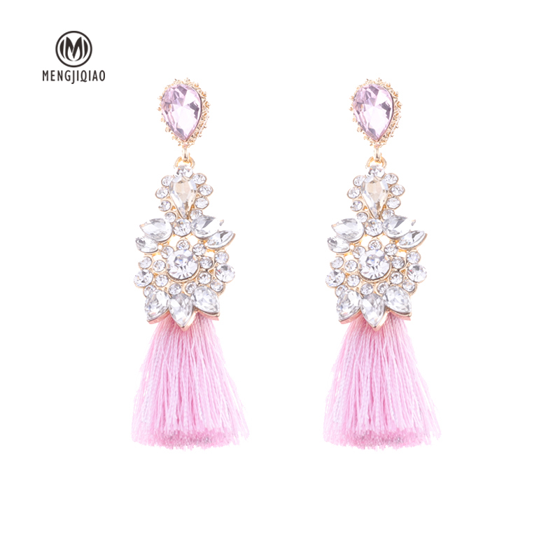 2017 Statement Fashion Jewelry Charm Tassel Earrings Shiny Geometry Rhinestone Pendientes Mujer Moda For Women Brincos