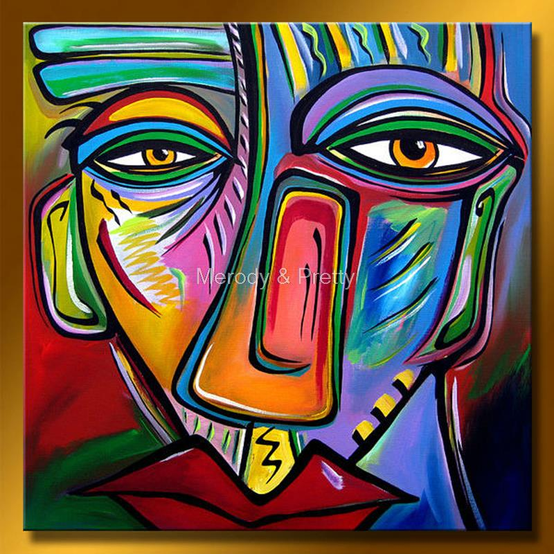 100 Hand Painted Modern Colorful Abstract Face Oil Painting On