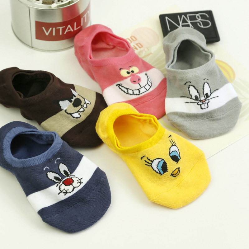 Summer Cartoon Cotton Thin Women Boat Socks Creative Casual Cotton Funny Animals Socks for Female Cute Kawayi Girls New  Acrylic high heels