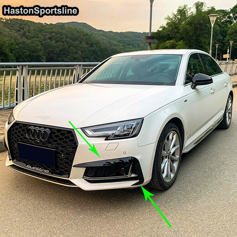 Pour Audi S4 Sline B9 modifié noir ABS avant tablier séparateur avant brouillard feu Fin Auto accessoires 2017 2018 2019