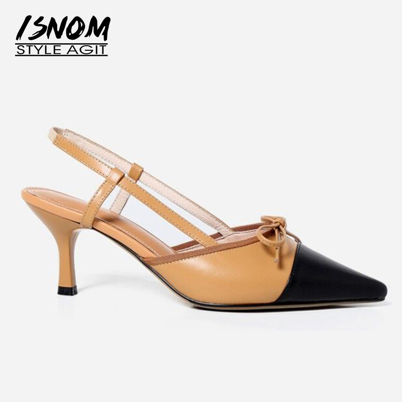 ISNOM Summer Sexy High Heels Sandals Women Stiletto Office Female Shoes Leather Sandals Shoes Pointed Toe