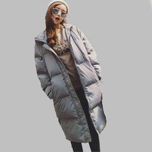 Women Winter Down jacket New Style Jacket Loose Big yards Long sleeve Pure color Hooded Coat Thick Warm Cotton Coat Women G2705