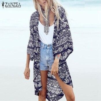 daed6f69984 S-6XL 2019 модная женская летняя блузка пляжное кимоно кардиган с цветочным  принтом 3 4 рукав повседневные свободные длинные пляжные Блузы Топы