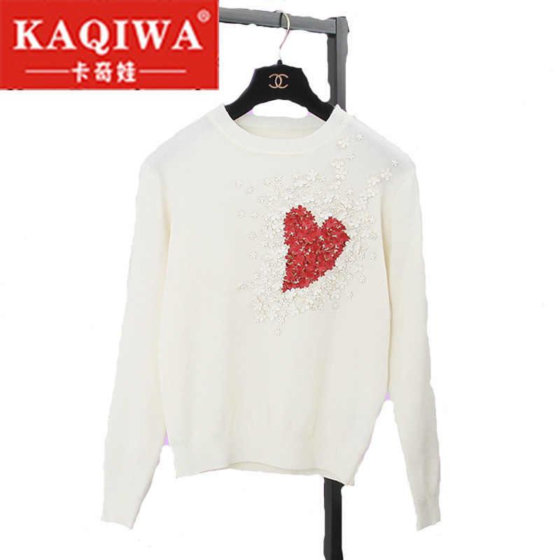 liva girl 2018 Autumn European Style New Fall Winer Women Star Celebrity Heart Flowers Sweet knitting sweater Warm Casual tops