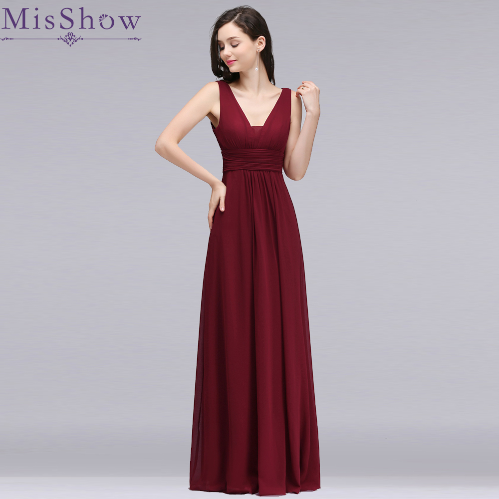 Cheap New Women   Bridesmaid     Dress   Elegant V Neck Chiffon Sexy Backless Long   dress   for wedding party Empire   Bridesmaid     Dresses