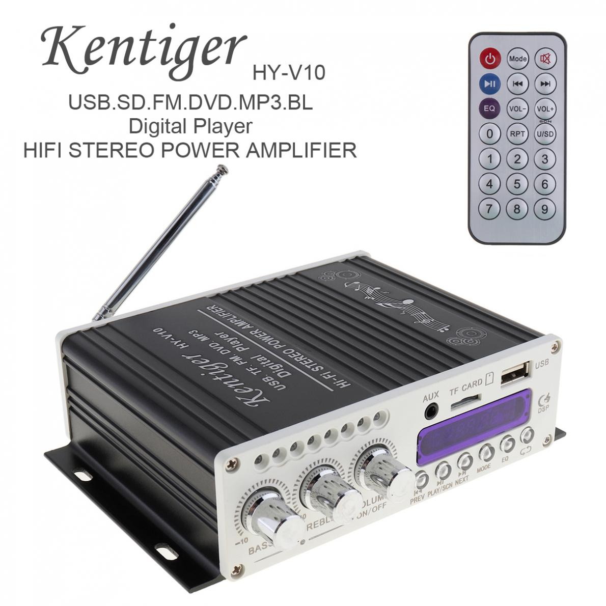 Kentiger <font><b>HY</b></font>-<font><b>V10</b></font> DC 12V 20W x 2 2CH HI-FI Bluetooth Car Audio Power Amplifier FM Radio Player Support SD USB DVD MP3 Input image