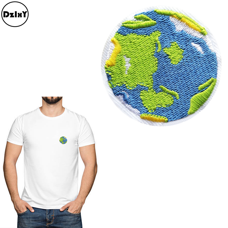 World Planet SET OF 2 Embroidered Iron On Patches Earth