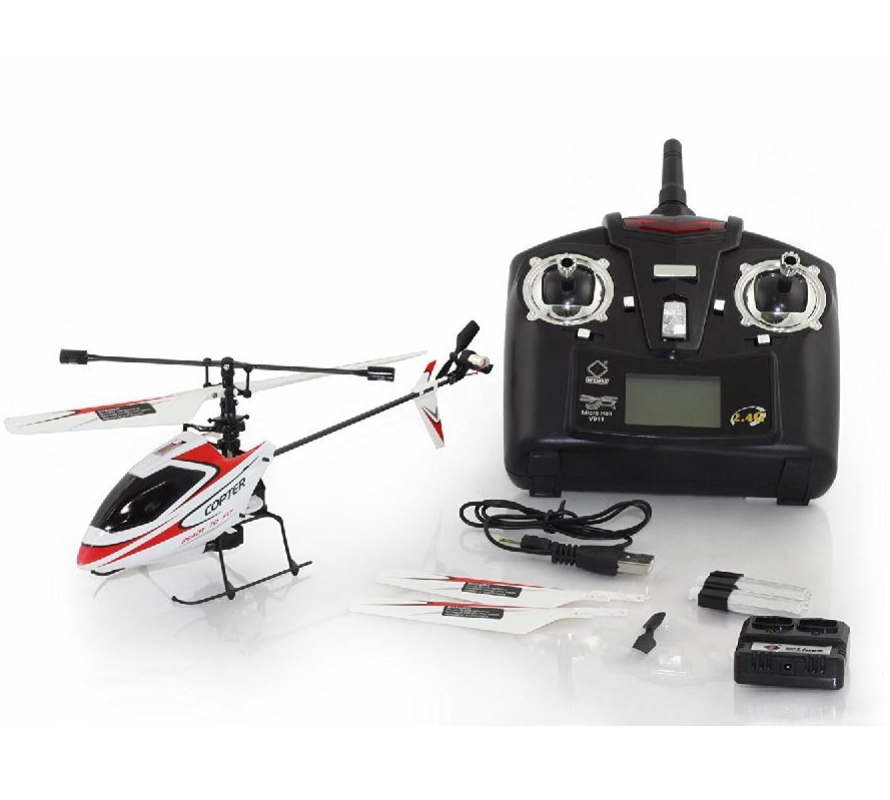 Wltoys V911 4CH 2.4 ghz Mini Radio Unique Hélice RC Hélicoptère Gyro RTF Rouge et Blanc QD30