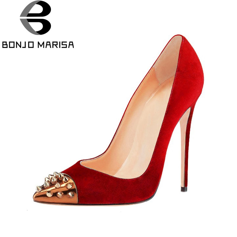 BONJOMARISA Large Size 33-45 12cm High Heels Party Spring Shoes Pumps Sexy Rivets Pointed Toe Wedding Women Shoes Woman цена