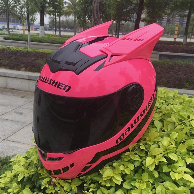 MALUSHEN Motorcycle Helmet Women Child Motorcross Equipment Protect Cat Helmet Personality Full Face Motor Helmet With Goggles