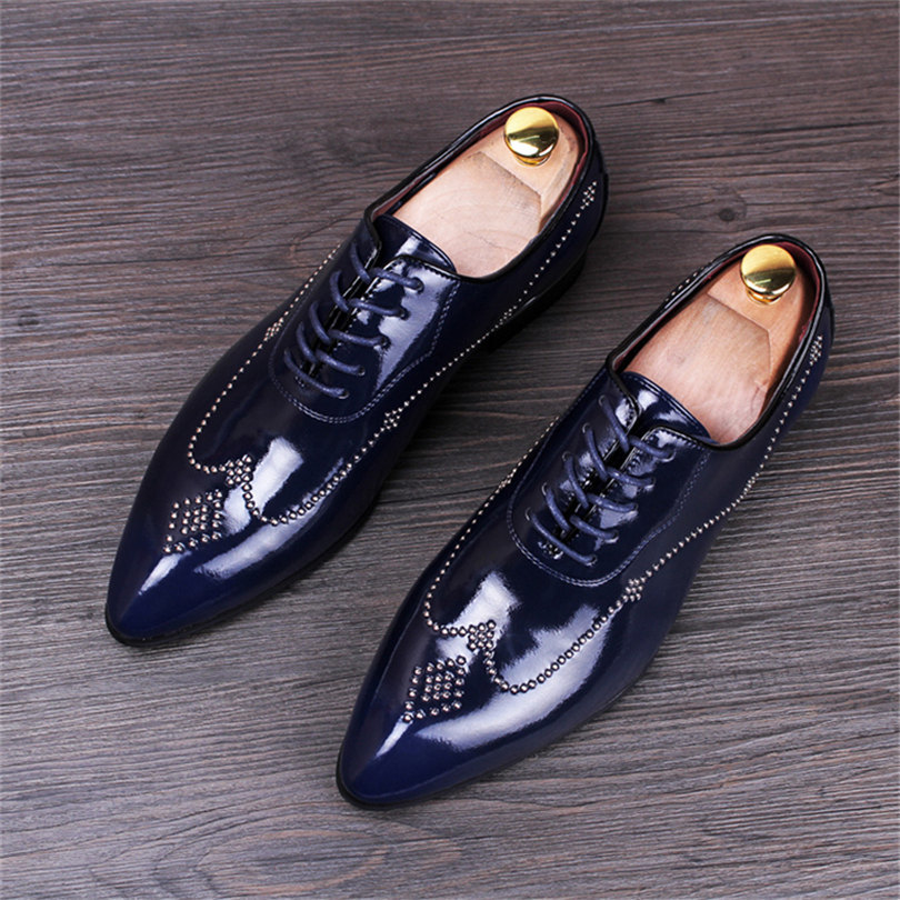 Men s Pointed Korean casual increased wedding shoe flat laces up rivets nightclub hair black blue