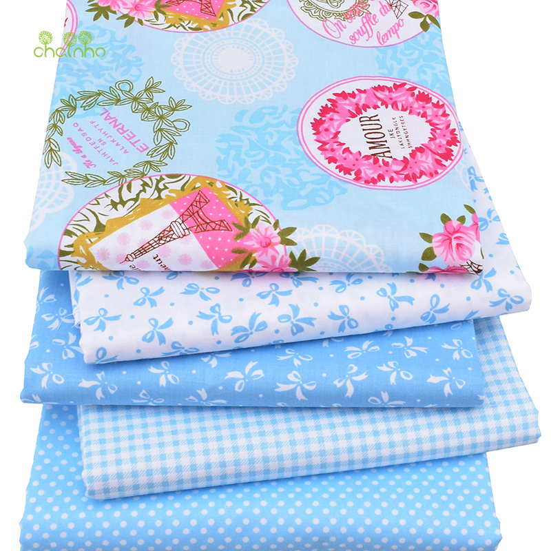 Bomullstyg för Patchwork Quilts Scrapbooking Produkter Fat Quaters Tilda Cloth Sewing Fabrics 5st Blue Designs 40 * 50cm