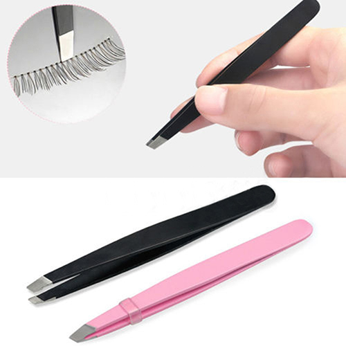 GUJHUI 1 PC Stainless Steel Slant Tip Hair Removal Eyebrow Tweezer Makeup Tool pink color Useful Beauty Tools