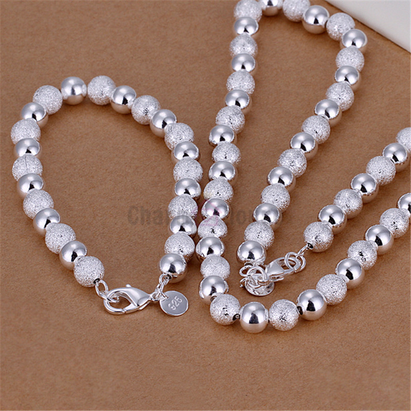 Silver 925 Jewelry Set for Women 8mm Beads Ball Chain Bracelet Necklace 2 pcs Wedding Part