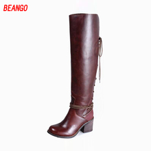 BEANGO Do Old Round Toe Women Shoes High Heels Fashion Pumps Cross Tied Over Knee Boots Retro Zapatos Mujer Casual Winter Boots