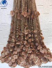 BEAUTIFICAL brown net lace fabric 3d appliques fabrics with beads 2019 embroidery lots ML44N93