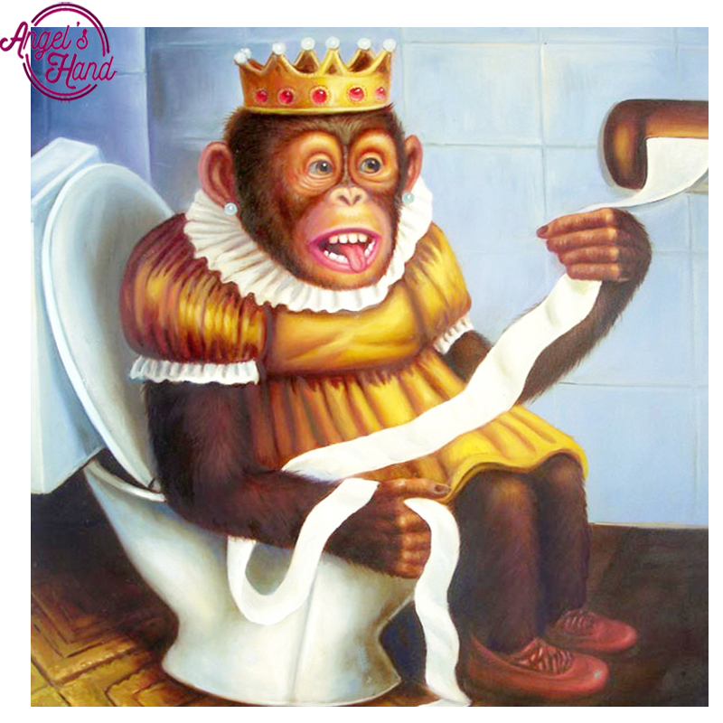 Full,Diamond Embroidery Monkey on toilet 5D,Diamond Painting,Cross Stitch,3D,Diamond Mosaic,Needlework,Crafts,Christmas,Gift